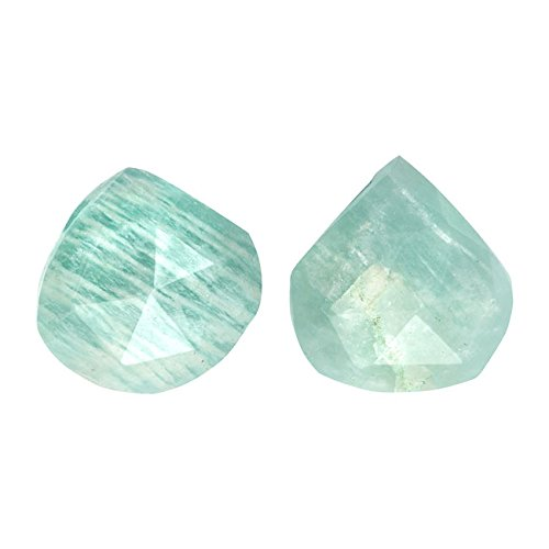 Chatoyant Amazonite Gemstone Beads, Faceted Heart Briolette 10-18mm, 4 Pieces, Aqua - Heart Gemstone Beads