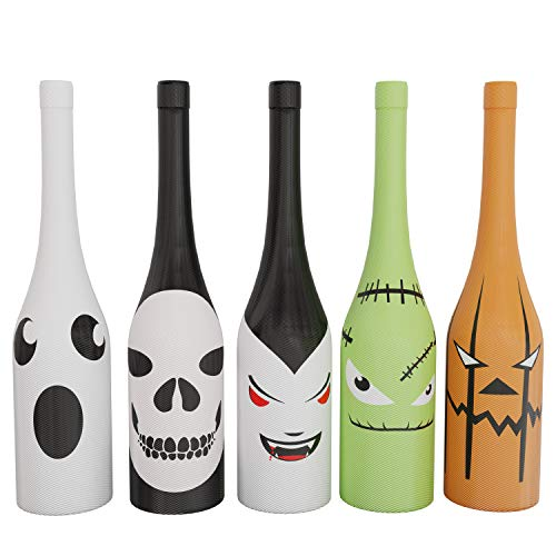 Holiday Gear Halloween Wine Bottle Covers & Decorations ~ Unique Holiday Wine Decor ~ Set of 5 Halloween Wine Bottle Covers -