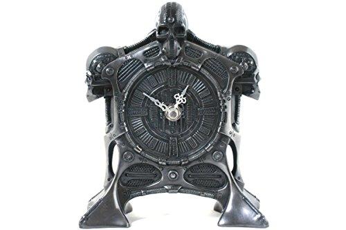 Gunmetal Finish Accents (8023 Cyborg Skull Decorative Resin Table Clock, Gunmetal Finish, 9