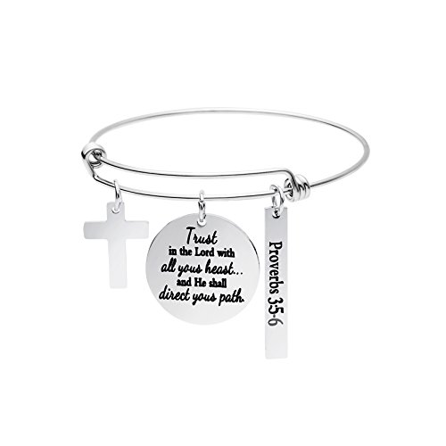 Christian Gifts for Women Expandable Bracelet Wire Bangle Bible Verse Stainless Steel Jewellery Charm Inspirational Trust in The Lord with All Your Heart (Bible Verses For Your Best Friend)