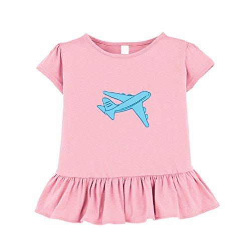 Ruffle Trim Jersey Top (Cute Rascals Airplane Toddler Girl Ruffle Fine Jersey T-Shirt Tee 2T Soft Pink)