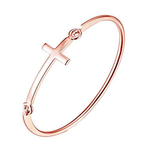 REEBOOO Cross Bracelet, Sideways Cross Bracelet, Open Hook Bracelet,Religious Gift, Religious Jewelry (Rose Gold Cross Bracelet)