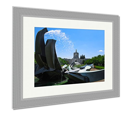 Ashley Framed Prints Salem Oregon Capitol Building And Water Fountain, Wall Art Home Decoration, Color, 26x30 (frame size), Silver Frame, - Shop Salem Oregon Frame