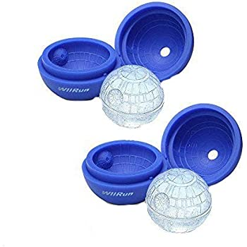 WllRun 2 Packs Star Wars Death Star Silicone Ice Cube Mold Tray,Chocolate Maker Tools,Ice Ball Shape for Drinks(Blue)