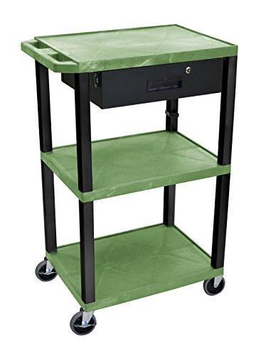 H.Wilson WT42GE-B-WTD Audio Visual Presentation Tuffy Cart Green 3 Shelves Black Legs with Drawer (Presentation Visual Cart)