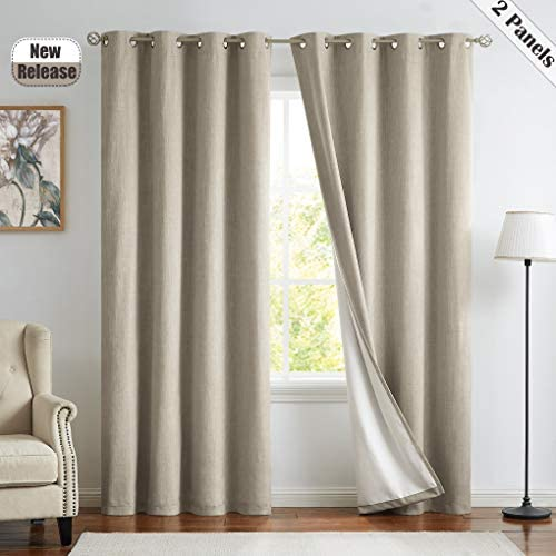 Sand Thermal Insulated Blackout Curtain Panels 100 Light Blocking Three Layers Thermal Insulated Grommets Top Window Drapes