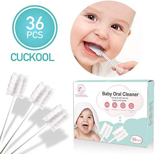 Baby Toothbrush, Infant Toothbrush 36Pcs Disposable Tongue Cleaner Gauze Toothbrush Infant Oral Cleaning Stick Dental Care for 0-36 Month Baby
