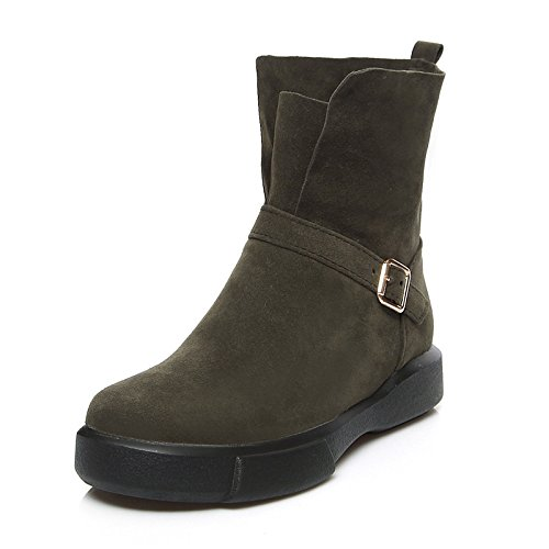 Booties Mid Flat Velvet Ankle Boots Boots Toe Bootie Fashion leather Shoes Boots Snow Fall Round Boots Calf Winter ZHZNVX Green Women's Nubuck HSXZ Boots wqRXX6T