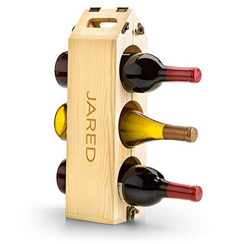 (GiftTree Personalized Wood Wine Rack | Wine Carrier Converts to 12 Bottle Wooden Wine Rack | Engrave up to 14 Characters - Perfect Wine Lover's Gift)