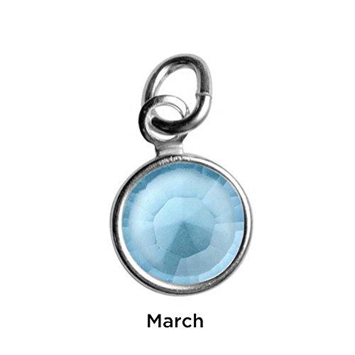 Sterling Silver Mother's Loving Embrace Light Blue Crystal Charm