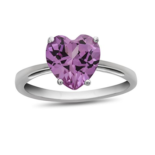 (Finejewelers 10k White Gold 7mm Solitaire Heart Shaped Created Pink Sapphire Ring Size 5)