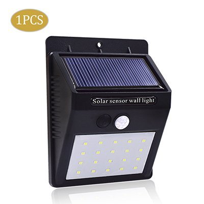 Zomoza LED Solar Light PIR Motion Sensor Wall lamp Human Body Infrared Outdoor Waterproof Home Garden Security Lights(20 led)(Black)