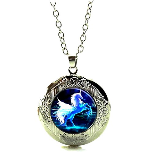 (DianaL Boutique Silver Tone Unicorn Horse Locket Pendant Necklace Glass Cabochon Art Picture Jewelry)