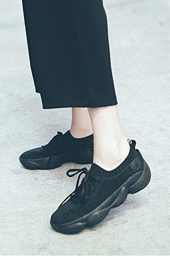 Dentelle Décontracté Respirante Chaussures Noir Maille Épais Cours D'Exécution Fond Muffin Femmes en NSX 1qAFxdwF