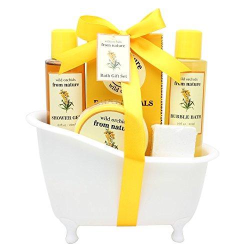 Spa Bath Gift Set Basket - Luscious Body Lotion, Shower Gel, Bubble Bath, Bath Crystals, Bath Bomb, by Saban Beauty