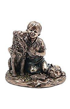 4.75 Inch Boy with Pet Shetland Sheepdog Textured Figurine Bronze Hued