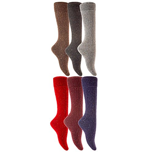 Lian LifeStyle Womens 4 Pairs High Crew Wool Socks Size 7-9 4 Colors