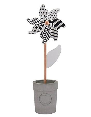 Windrad schwarz weiß mit Blumentopf , Größe:small: Amazon.de: Garten
