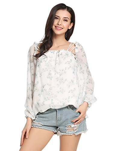Zeagoo Women Ruffle Tether Floral Balloon Sleeve Sheer Chiffon Shirt Blouse Tops 41Kwfvv385L
