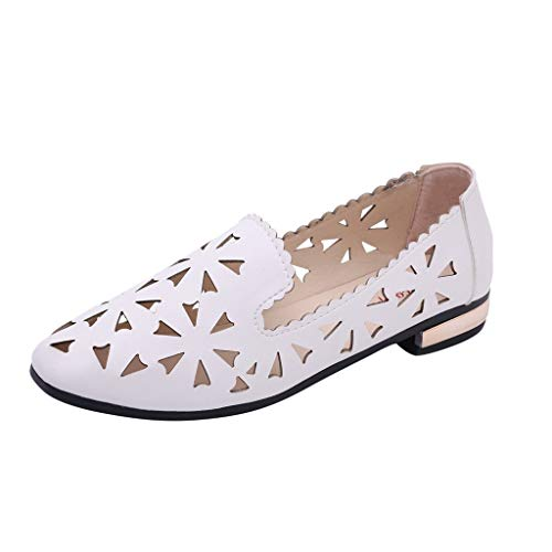 Aunimeifly Womens Flats Cap Toe Hollow Out Flowers Sandals Ladies Solid Color Non-Slip Wild Single Shoes White ()