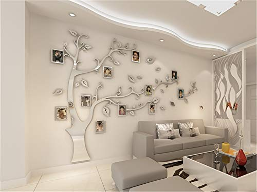 3D Acrylic Tree Photo Frame Wall Stickers Crystal Mirror Stickers Paste On -