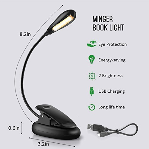 LED-Reading-Light-4000K-Rechargeable-7-LED-Book-Light-2-level-Warm-Brightness-and-Flexible-Easy-Clip-On-Reading-Lamp-Eye-Protection-Brightness-Best-Reading-Light-for-Bedside-Night-Reading