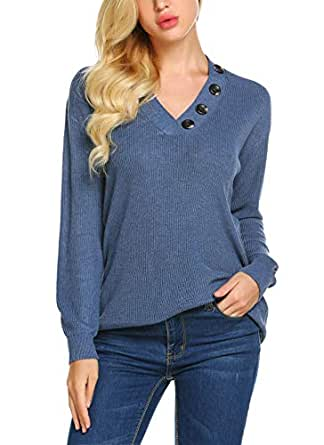 Yayado Women's V-Neck Long Sleeve Button Decorated Ribbed Knit Pullover Sweaters Jumpers