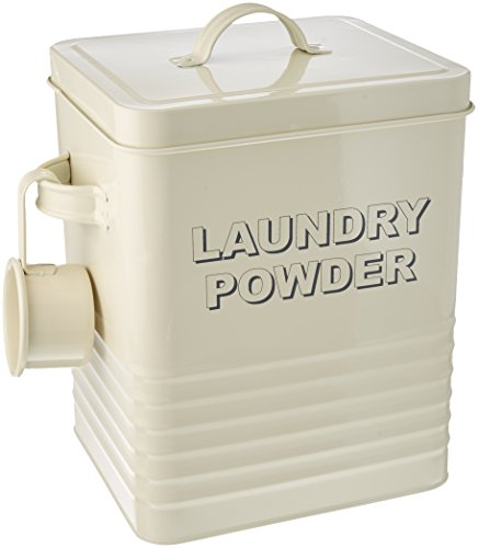 The Leonardo Collection LP22215 Sweet Home Laundry Powder Storage Tin with Scoop, Cream (Tin Kitchen Storage)