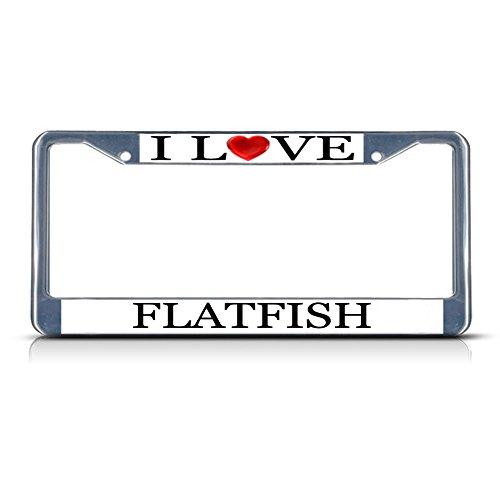 Sign Destination Metal License Plate Frame Solid Insert I Love Heart Flatfish Car Auto Tag Holder - Chrome 2 Holes, Set of 2