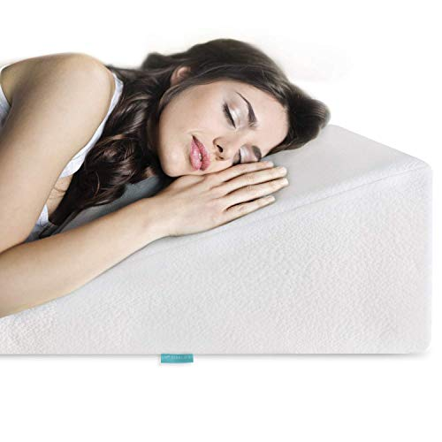 (Bed Wedge Pillow Gel Memory Foam Top - Cooling Elevated Support Cushion for Lower Back Pain, Acid Reflux, Heartburn, Allergies, Snoring - Ultra Soft Breathable Cover (10 inch Wedge) by VivaLife)