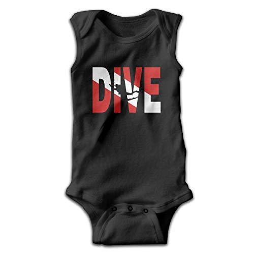 ive Flag Scuba Diving Baby Newborn Crawling Suit Sleeveless Romper Bodysuit Onesies Jumpsuit Black ()