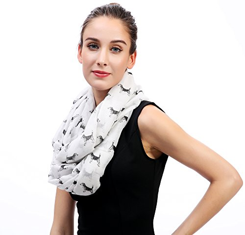 Lina & Lily Sketch of Dogs Print Women's Infinity Scarf Lightweight (Beagle-White) by Lina & Lily (Image #1)