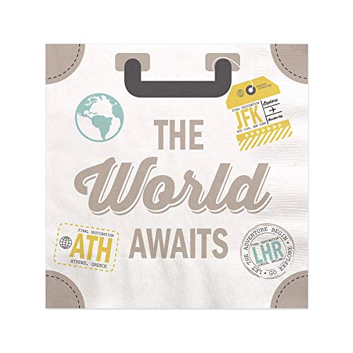 - World Awaits - Travel Themed Party Cocktail Beverage Napkins - 16 Count
