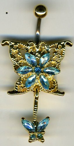 Body Fashion Belly Ring Diamond Gold Buterfly Dangle Navel Ring with Cz Stones 14g Belly Piercing with Surgical Steel Bar (Blue)