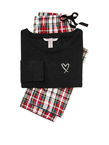 (Victoria's Secret Lounge Pajama Gift Set Black & Red Flannel Plaid-)