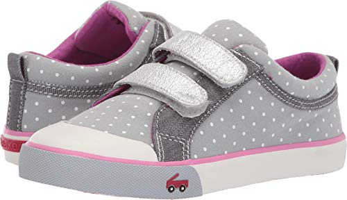 See Kai Run Girl's Robyne Sneaker, Gray Dots, 1.5Y M US Little Kid