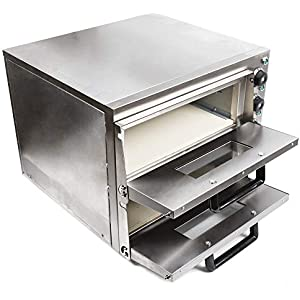 Commercial Electric 3000W Pizza Oven Double Deck Stainless Steel Ceramic Stone Fire Stone 3KW 16.9 inch Pizza Cooker with Dedicated Pizza Drawer USA STOCK