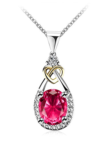 Created Birthstone Garnet Necklace 2 Tone Drop Pendant Necklace Crystal Cubic Zircon Open Heart January Mother's Day Gifts for Mom Birthday Gifts for Women Girls Anniversary Gifts for Wife Jewelry (Tone Garnet Pendants Two)