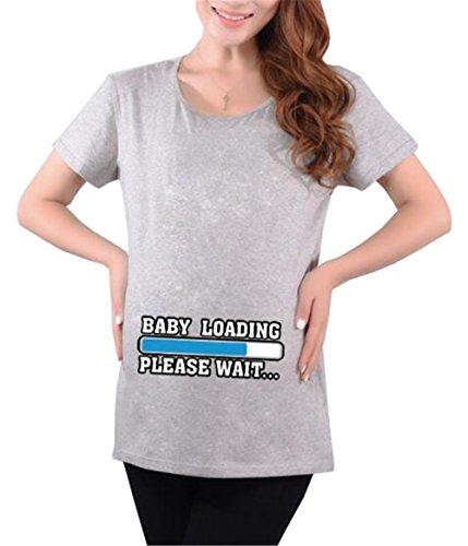 Donna Casual Pregnancy Manica Taglie Premaman Slogan Forti Moda Aivosen Top Incinta Grey4 T Allentato Corta shirt Divertenti Maglietta Stampa Maternity Morbidi Cotone qZw7T0