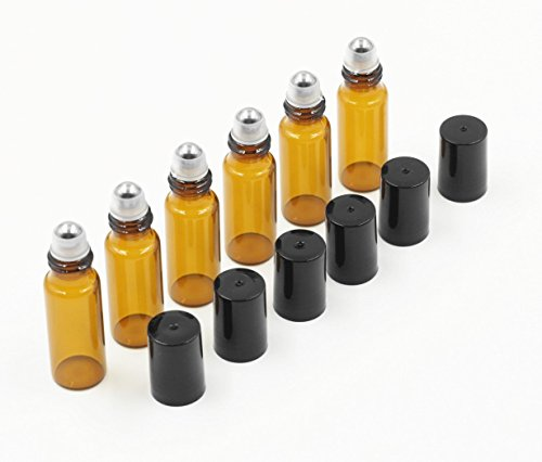 5ml Amber Glass Roller Bottles Roll Bottle with Metal Ball f