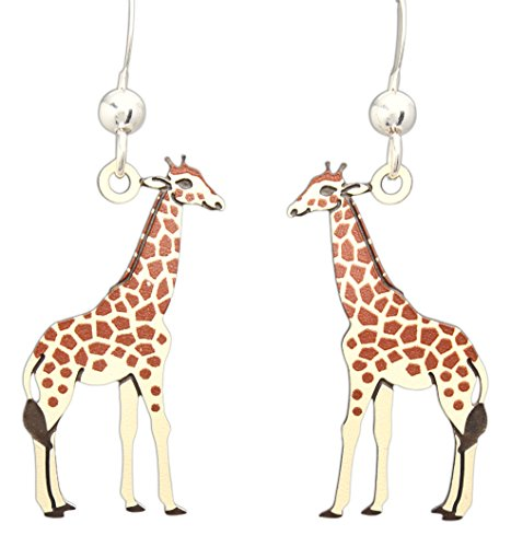 Sienna Sky Hypo-Allergenic Animal Sterling Silver Plated French Hook Ear Wire (Giraffes)