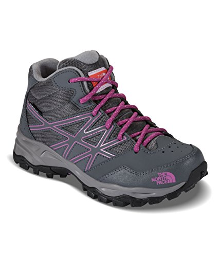 The North Face Youth Hedgehog Hiker Mid Waterproof Hiking Shoe Zinc Grey/Wisteria Purple Size 5.5 M US