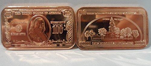 1 OZ. $100 Ben Franklin Bank Note Ingot .999 Fine Copper Bullion Art (Bullion Art Bar)