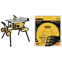 DEWALT DWE7491RS 10-Inch Jobsite Table Saw with 32-1/2-Inch Rip Capacity and Rolling Stand with DW3215PT 10-Inch 60 Tooth ATB Crosscutting Saw Blade with 5/8-Inch Arbor and Tough Coat Finish