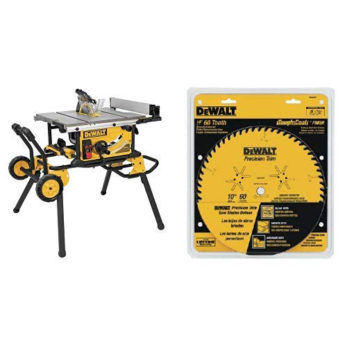 5/8 Arbor 60 Teeth (DEWALT DWE7491RS 10-Inch Jobsite Table Saw with 32-1/2-Inch Rip Capacity and Rolling Stand with DW3215PT 10-Inch 60 Tooth ATB Crosscutting Saw Blade with 5/8-Inch Arbor and Tough Coat Finish)
