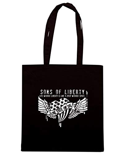 Borsa Shopper Nera TM0613 LIFE WITHOUT LIBERTY IS LIKE A BODY WITHOUT SPIRIT
