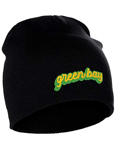 I&W Classic USA Cities Winter Knit Cuffless Beanie Hat 3D Raised Layer Letters, Green Bay Black, Green Gold
