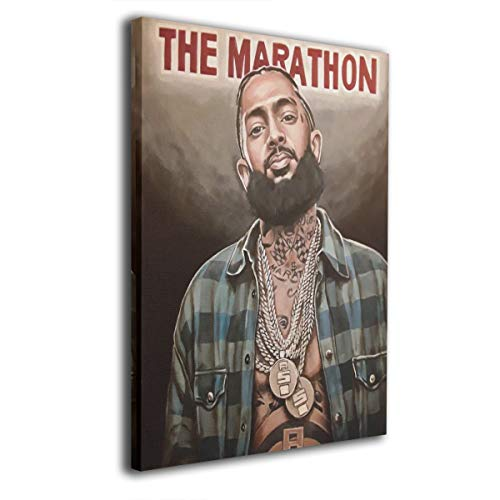 Martina Houston Canvas Wall Art Painting Nipsey-Hussle Hiphop Rapper RIP -Photo Modern Decorative Giclee Artwork Wall Decor-Wood Frame Gallery-16 x20