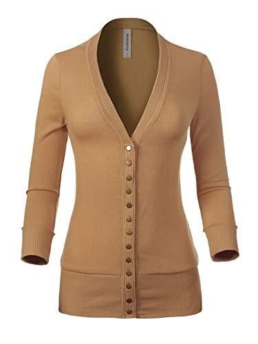 MixMatchy Women's Soft Basic V-Neck 3/4 Sleeve Snap Button Down Knit Cardigan Sweater Khaki 2X