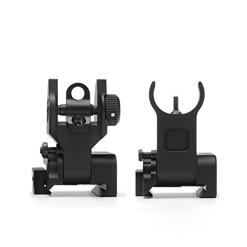 SOUFORCE Premium Tactical Flip Up Mil Spec Iron Sights Front + Rear Sight Mounts Set -